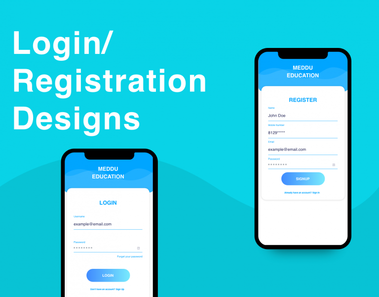 android login / registration designs